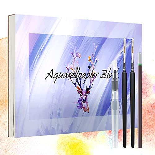 Aquarellpapier A4 30 Blatt Aquarellblock Premium Watercolour Paper Weiß Geleimt Pad Bleistift Malblock Papier für Aquarell Zeichnen Acryl Malen Skizzieren