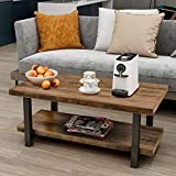 P PURLOVE Coffee Table Rustic Style Solid Wood+MDF and Iron Frame Rectangle Coffee Table for Living Room with Storage Shelf Easy Assembly (Antique Brown and Black)