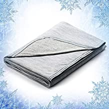 Elegear 51''x67'' Cooling Throw Blanket for Couch, Japanese Q-Max 0.4 Cooling Fiber Absorb Body Heat 100% Cotton Backing Summer Travel Blanket Throws for Bed/Sofa, Hypoallergic,MachineWashable