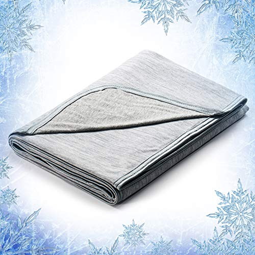 Elegear Cooling Throw Blanket for Couch, Japanese Q-Max 0.4 Arc-Chill Cooling Fiber Absorb Body Heat 100% Cotton Backing Summer Travel Blanket Throws for Bed/Sofa, Hypoallergic, Machine Washable