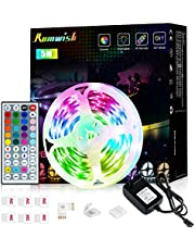 LED Strip 5m Romwish RGB Lights Kit met IR Afstandsbediening RGB Smd 5050 24v Color Changing Veelkleurig Kleurverandering voor Slaapkamer, Huis, TV, Kastdecoratie, Feest en Vakantiedecoratie