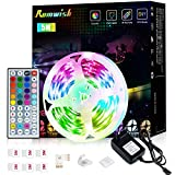 Luces LED 5 Metros, Romwish RGB Tiras Luces LED Habitacion Niños Decoracion Inteligentes Adhesiva Flessibile Luz Luces LED Con Mando Kit Para Pared, Baño ,Escaleras,Camera Da Letto, Cucina, TV, Feste