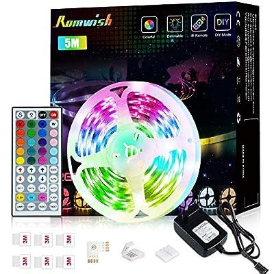 【Multi-Colors】-ROMWISH tira de luz tiene 20 botones de color básico y 6DIY botones de ajuste en el IR Remote de 44 teclas, que puede proporcionar 16 millones de colores para cambiar de acuerdo a su estado de ánimo. 8 botones de efecto intermitente ha...
