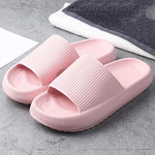ZMMM Women Men Pillow Slippers - Ultra Thick Lightweight Non-Slip Quick Drying Open Toe Soft Cushioned Massage Shower Slides Slippers, Cloud-Feet Slippers (38/39,Pink)