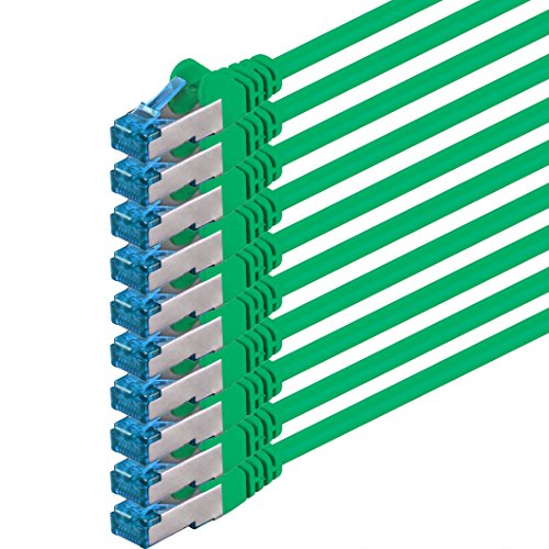 Cavo di rete CAT6a CAT 6a, cavo di rete Ethernet di alta qualità, S-FTP, doppia schermatura, PIMF, 500 MHz, senza alogeni, compatibile con CAT 5, CAT 6, CAT 7, 10/100/1000/10000 Mbps, per switch, router, modem, punto di accesso, pannelli patch 0 Verde - 10 pezzi 1,5 m