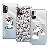 Young&Ming Compatible con Funda XiaomiRedmiNote105G/Poco M3 Pro 5G, (3 Pack) Transparente TPU Carcasa Delgado Anti-Choques con Dibujo de Unicornio