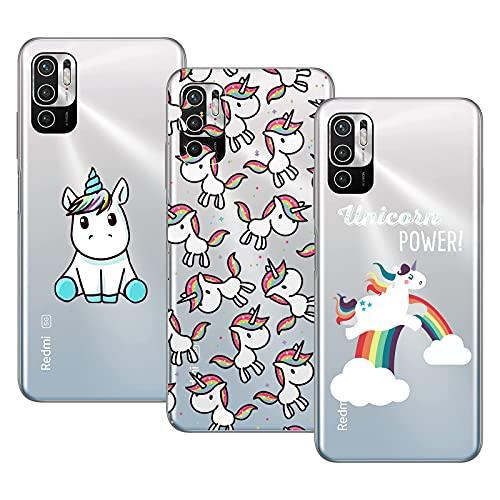 Young & Ming Compatible per Cover Xiaomi RedmiNote105G/Poco M3 PRO 5G, 3 Pack Sottile Morbido TPU Bumper Silicone Antiurto Protettiva Custodia con Disegni Unicorno