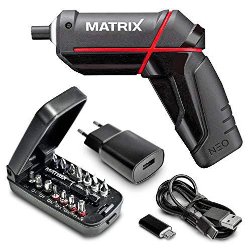 Matrix 120310280 Akkuschrauber | klein | NEO | 4 Volt, 5,5 NM Drehmoment | in Geschenkbox | inkl. Zubehör, Bits, etc, 4 V, schwarz, rot