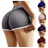 xatos Women's Workout Shorts Scrunch Booty Yoga Pants Running Compression Exercise Middle Waist Butt Lifting Leggings Gray
