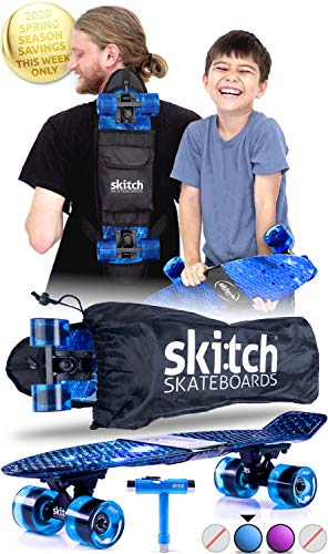 SKITCH Complete Skateboards Gift Set for Beginners Boys and Girls of All Ages with 22 Inch Mini Cruiser Board  All Accessories Blue Galaxy
