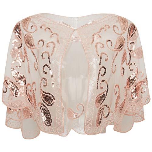 ArtiDeco - Chal de los años 20 para vestidos de noche, estola para bodas, mantón para fiestas o disfraces rosa Talla única