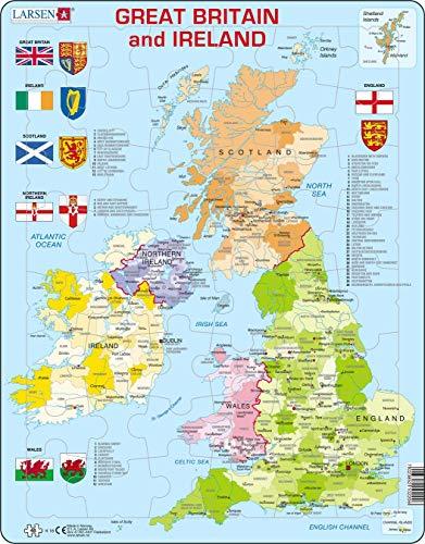 K18 Mapa político de Gran Bretaña e Irlanda, edición en Inglés, Puzzle de Marco con 48 Piezas