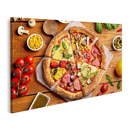 islandburner Cuadro en Lienzo Composición de Capas Planas Rebanadas Diferentes deliciosas Pizzas Mesa de Madera Cuadros Colores Muy llamativa