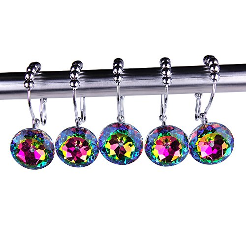 Rustproof Stainless Steel Decorative Shower Curtain Hooks Double Glide Shower Curtain Rings with Acrylic Crystal Rhinestones to Hang Curtain and Liner at Same Time, Set of 12, Multi Color