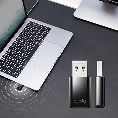 Cudy WU1300 AC 1300Mbit/s WLAN USB 3.0 Stick, 400+867Mbit/s USB WLAN, 5 GHz / 2,4 GHz, USB 3.0 für höhere Geschwindigkeit, kompatibel mit Windows Vista / 7/8/8.1/10, Mac OS