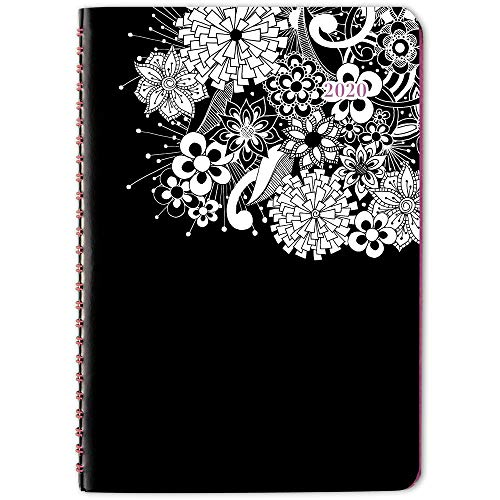 2020 Planner, Cambridge Weekly & Monthly Planner, 5-1/2u0022 x 8-1/2u0022, Small, FloraDoodle, Black and White (589-200), Model:589-200-20