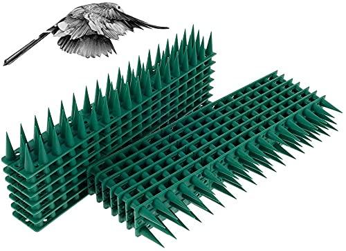 Maalr 14Pezzi Repellente per Uccelli in Plastica, Anti Dissuasori/Uccelli/Piccioni/Gatti Repellente Pannelli Spikes, Spike Repellenti per Esterno, Muro, Recinzione - 33 x 4,5 x 3,5 cm (Verde)