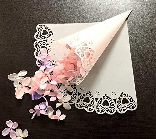 iKesoce 50 Pz Coni Portariso Cuore Bianco Portaconfetti Scatoline Bomboniere Coni di Coriandoli a Forma di Cuore Tagliati a Laser per Matrimonio Nozze