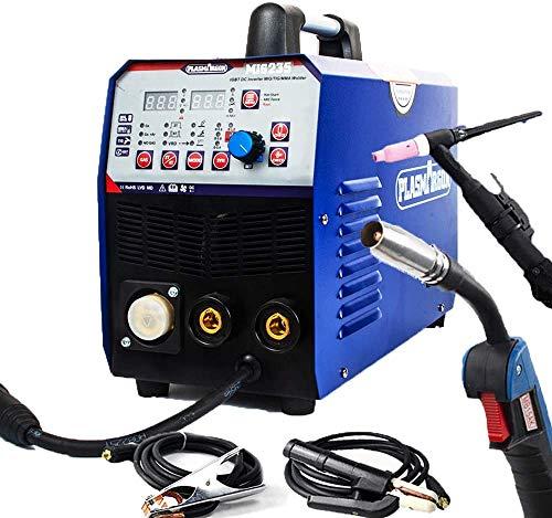SUSEMSE TIG/MIG/MMA MIG Soldador-PlASMAAGRON 3 en 1 Máquina de soldadura multifunción Flux Core Wire Soild Core Wire Gas/Gasless 200Amp 220V IGBT Equipo de soldadura MIG235 Azul