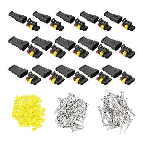 YIXISI 15 Stücke Wasserdicht Schnellverbinder, Wasserdichte Elektrische Kabel Steckverbinder Stecker Kit, Draht-Stecker, Crimpstecker, Nylon Schnellverbinder (2 Polig×5, 3 Polig×5, 4 Polig×5)