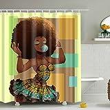 Cortinas Baño Impermeable Resistente al Moho,De Impresión Digital Retro Shower curtain con ganchos de plástico baño accesorios 72 x 72in, 100% poliéster,180 x 180 cm -Puerta de Madera Estilo