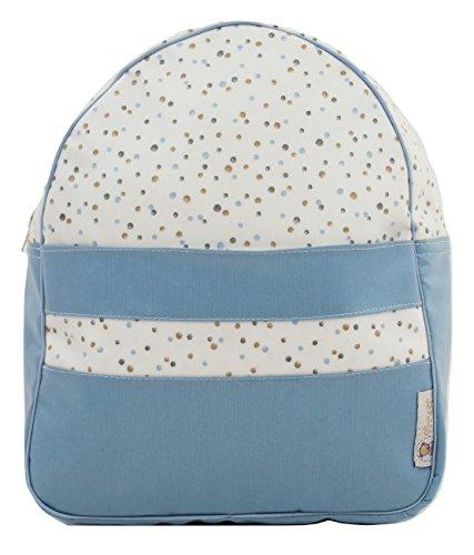 Mochila o bolsa infantil plastificada para colegio o guardería. Modelo little nordic. Topitos azul