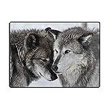 #Teppich #Wolf #Paar #schwarz #weiss #Wohnzimmer 63x48 Inch (ca. 160x122 cm) oder 80x58 Inch (ca. 203x147 cm)