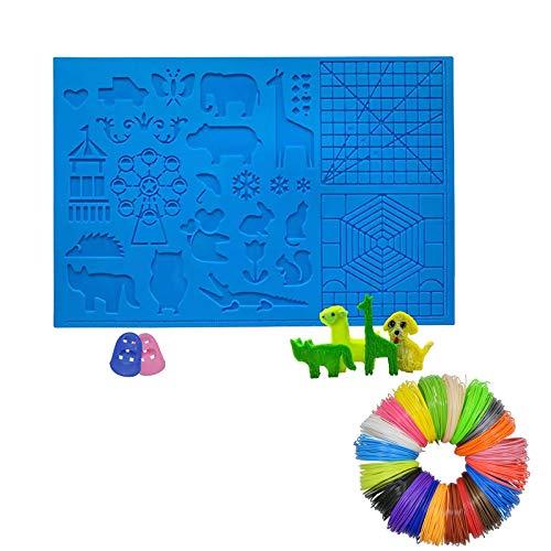Bolígrafo de impresión 3D con 20 colores de 10 m por filamento de color PLA, almohadilla de dibujo para niños con patrones de animales básicos y protectores de dedos para impresión 3D