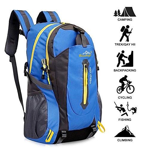 Yunplus 40L Leichtes Wandern Rucksack, Multifunktions Wasser-resistent Casual Camping Trekking Rucksack f¨¹r Radfahren Reisen Klettern Outdoor Sport - Blau