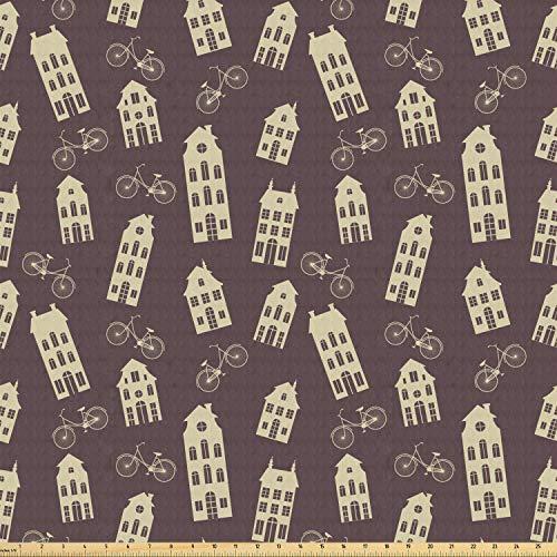 ABAKUHAUS Amsterdam Stof per strekkende meter, Retro Huizen en fietsen, Stretch Gebreide Stof voor Kleding Naaien en Kunstnijverheid, 2 m, Dark Taupe Cream