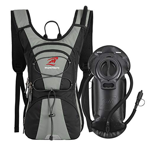 SHARKMOUTH FLYHIKER Hiking Hydration Backpack Pack with 2.5L BPA Free Water Bladder, Lightweight and Comfortable for Short Day Hikes, Day Trips and Trails (Gray)