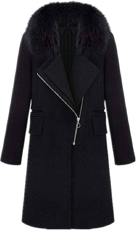 TymhgtCA Womens Faux Fur Collar Slim Autumn Wool Coat Jacket Outwear