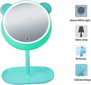 Sfesnid 4 en 1 Espejo de Maquillaje & Lámpara de Escritorio & Luz Nocturna &luz Ambiente USB recargable Espejo de Vanidad con Luces Forma de Oso Pantalla Táctil Base de Almacenamiento