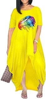 FSSE Women Summer Short Sleeve Lips Print Irregular Loose Maxi Dress