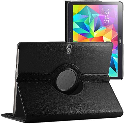 ebestStar - kompatibel mit Samsung Galaxy Tab S 10.5 Hülle SM-T800, T801 T805 Rotierend Schutzhülle Etui, Schutz Hülle Ständer, Rotating Hülle Cover Stand, Schwarz [Tab:247.3x177.3x6.6mm 10.5