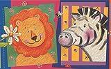 Faux Cartoon Animal Pictures Hippo Lion Giraffe Zebra Elephant Kids Wallpaper Border Modern Design, Roll 15' x 6'