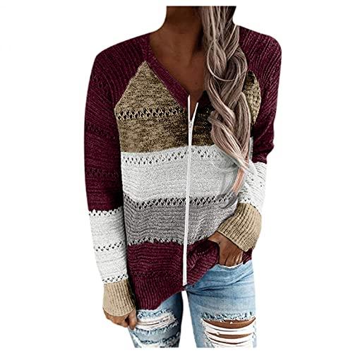 Jersey de punto con capucha para mujer, con cremallera completa, informal, suelto, abrigo, acogedor, cálido y con capucha, cárdigan, rojo, XXXL