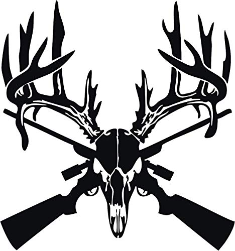 Deer Skull Gun Rifle Vinyl Decal Sticker for Window ~Car ~ Truck~ Boat~ Laptop~ iPhone~ Wall~ Motorcycle~ Helmets~ Gaming Console~ Size 11.24' x 12' White