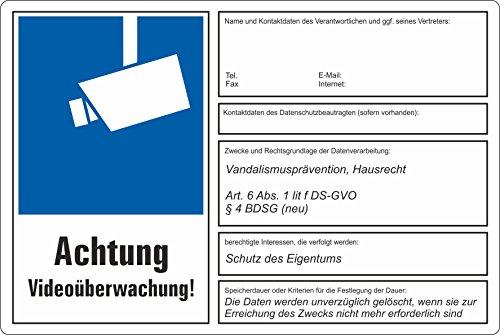 Fassbender-Druck SCHILDER dsgvo BDSG - Videoüberwachung Schild/VÜ-014 (30x20cm Aufkleber)