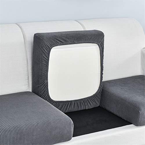 Fundas de cojín de asiento de sofá, fundas de cojín de repuesto, fundas de cojín de sofá elásticas para cojines individuales (gris oscuro, tamaño grande de 1 plaza)