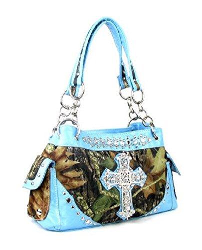 DH JP Camo Bling Rhinestone Cross Spiritual Western Cowgirl Shoulder Hand Bag Purse (Blue)