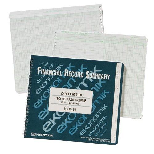 Ekonomik DD Wirebound Form Dd Check Register W/10 Left Distribution Columns, 8-3/4X10