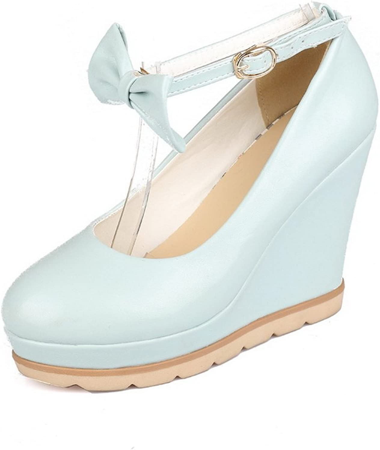 1TO9 Womens Buckle Platform Wedges Low-Cut Uppers Leather Pumps shoes MMS04377