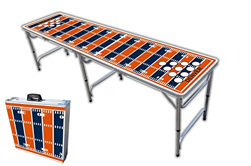 Best Price 8-Foot Professional Beer Pong Table w/Holes - Denver Football Field Graphic