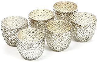 "Hosley Set of 6 - Metallic Antique Silver LED Glass Votive/Tea Light Candle Holder 2.75"" Diameter. Ideal for Bridal, Weddi..."