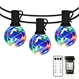 LED String Lights Outdoor - IELECMG 35 FT G40 Patio String Lights 32 Bulbs(2 Spare) Linkable Dimmable Waterproof Decorative Lighting with Remote for Garden Wedding Party Decorations