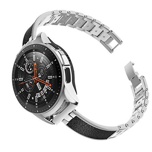 Ownaco Kompatibel mit Samsung Galaxy Watch 42mm Ersatzarmbänder, Leder + Metall Ersatzbnder Armband Zubehr Damen Schlank Armband für Galaxy Active 2 40mm (Silber)