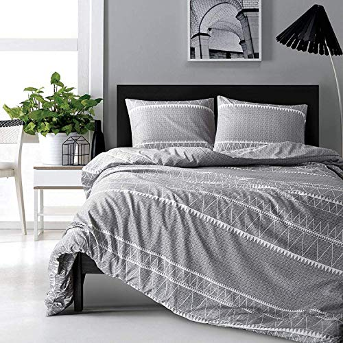 HYPREST Bohemian Queen Duvet Cover Set Lightweight Soft Grey Triangle 3PC Comforter Cover Set Hotel Quality (Queen)