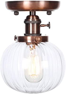 Ganeep Vintage Bathroom Kitchen Decoration Ceiling Lights Loft Retro E27 1 Light Semi Flush Mount Ceiling Lamp Fixture 5 Color Plated Surface With Clear Glass Shade Color Red Bronze Amazon Com