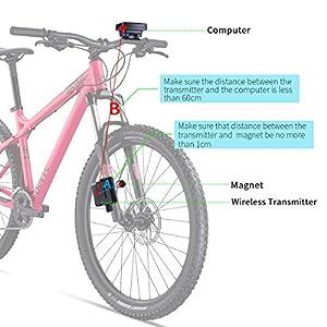 RISEPRO– ordenador de bicicleta inalámbrico, ordenador de bicicleta impermeable con retroiluminación LCD de 4 líneas para el seguimiento de velocidad y distancia